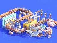 C4D practice Robot Factory