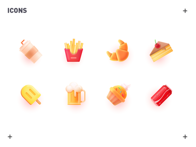 food icons 张小哈 food icons food icon icons beer croissant cafe french fries cola cake food icon