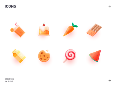 food icons 张小哈 food lollipops biscuits watermelon milk chocolate carrot cake juice icon icons