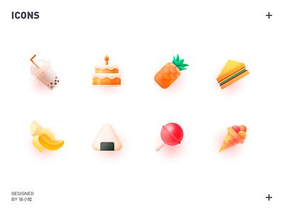 food icons 张小哈 rice roll milky tea pineapples sandwich pineapple lollipop cake ice cream food banana icons icon