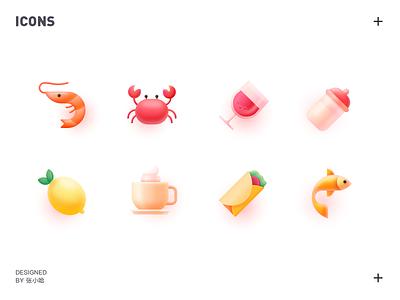 food icons 张小哈 illustration seafood crab burrito shrimp lobster red wine wine lemon fish cafe icons icon food