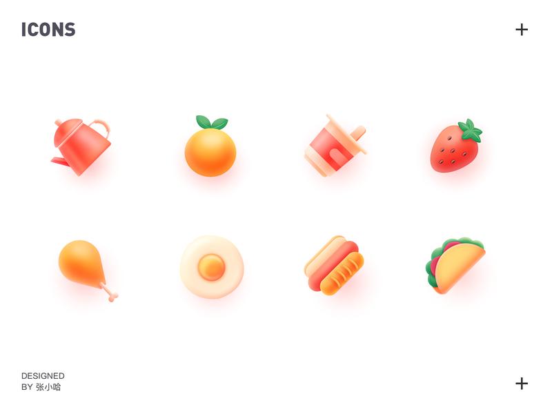 food icons 张小哈 illustration teapot yogurt chicken drumsticks pancake hot dog strawberry food and drink egg orange icons food icons icon food