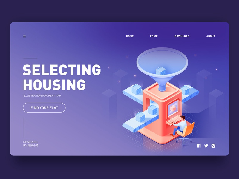Selecting housing 张小哈 houses housing selecting isometric design rental app rent isometric 2.5d illustration