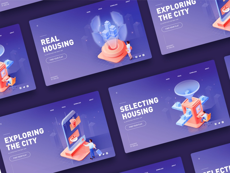 2.5d illustration collection safe security safety houses rental rent pension shield cake drink phone city building housing selecting isometric 2.5d machine collection illustration