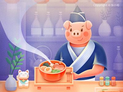 Izakaya at Night 张小哈 tonkotsu ramen hand-pulled noodles restaurant food 2019 vase fish maneki neko noodle izakaya chef pig illustration