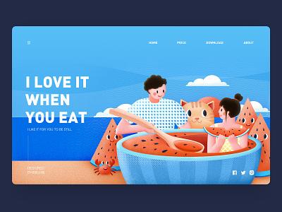 I love it when you eat 张小哈 season wind eat friend spoon cloud summer beach crab cat sea watermelon girl boy love lovers lover illustration