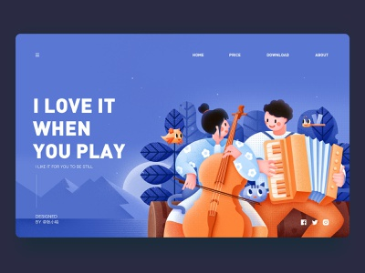 I love it when you play 张小哈 night plant dragonfly accordion music play music cat lake friend lovers lover love boy girl mountain moon bird violin illustration