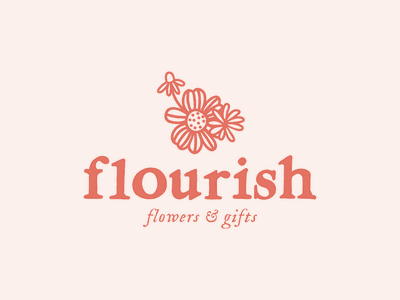 Flourish Flower + Gifts – Brand Design florist logo florist floral logo floral illustration branding brand design logo design logo