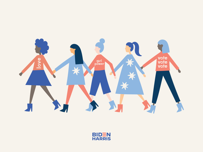 Rise Up. Show Up. UNITE. lettering together love unite girl power illustration women voters election day vote election
