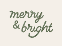 Merry and Bright pine tree lettering