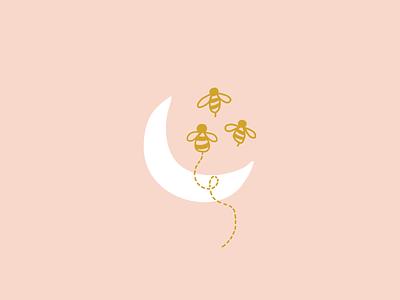 Luna Bee Children's Boutique   Brand Design moon bee design logo design logo brand design branding