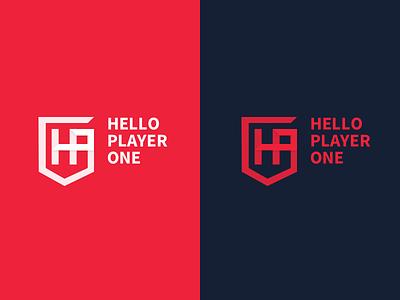 helloplayerone logo player esport gaming logo gaming shield logo