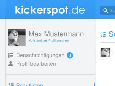 Kickerspot Redesign kickerspot soccer social sozial network social network sozial network soziales netwerk netzwerk blau grau weiß white blue grey mini minimal