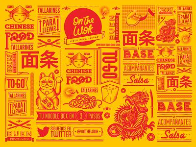 On the Wok food restaurant asian mor8 illustration design branding