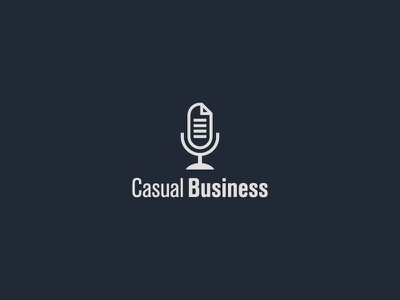 Casual Business microphone file business podcast logo