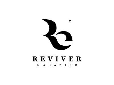 Reviver negative space minimalist logo magazine re