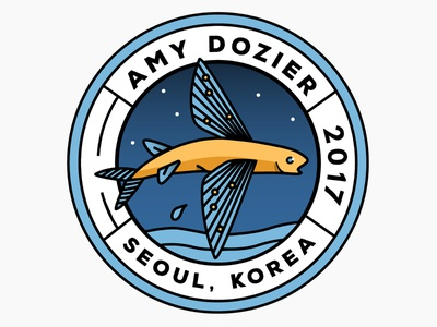 Flying Fish Badge badges fish korea seoul badge flying fish