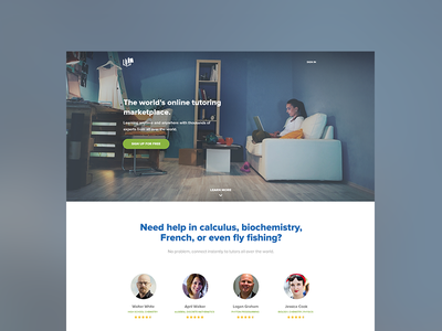 TU Landing Page (New) tutor universe featured users profiles learn more marketplace sign up call-to-action photo education landing