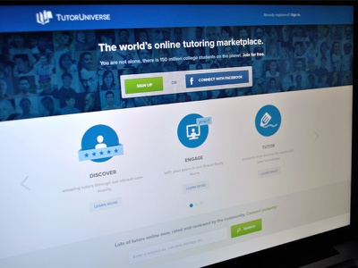 Landing Page landing page interface blue green education tutor universe features login title search