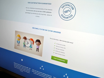 Landing Page - 2  landing page interface blue green education tutor universe features