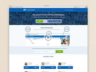 Tutor Universe tutor universe landing page blue green education tutoring online