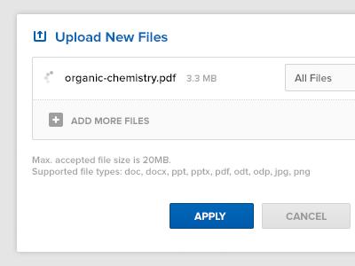 Upload New Files tutor universe upload screen dropdown add files apply pdf