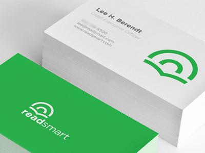 Readsmart Identity read smart readsmart brain words sentences text green identity business cards mockup logo