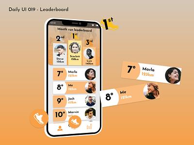 Daily UI #019 - Leaderboard leader run orange 019 leaderboard running sports app illustration design mobile ux ui graphic design daily ui challenge adobe xd