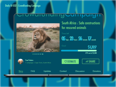 Daily UI #032 - Crowdfunding Campaign donators donation south africa leo colors flat rescure animals 032 campaign crowdfunding campaign crowdfunding illustration daily ui design ui ux graphic design challenge adobe xd