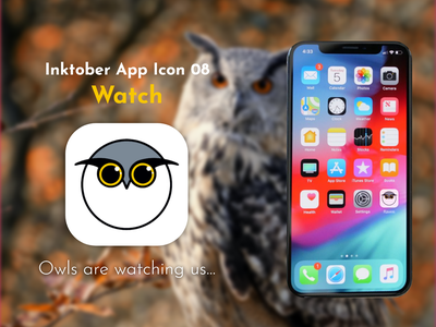 Inktober App Icon 08 - Watch watching watch owls owl apple pen ipad procreate inktober2021 inktober app icon icon app logo illustration design ux ui graphic design challenge adobe xd