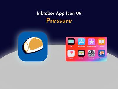 Inktober App Icon 09 - Pressure space moon app icon icon app logo illustration design graphic design ux ui challenge adobe xd astronaut pressure draw procreate ipad inktober2021 inktober