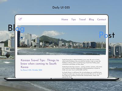 Daily UI #035 - Blog Post laptop macbook mac website plane travel south korea korea tips blog post post blog illustration daily ui design ux ui graphic design challenge adobe xd