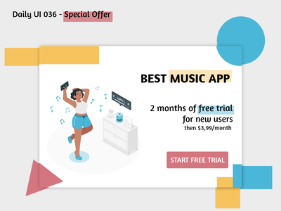 Daily UI #036 - Special Offer dailyui 036 offer button free trial colors popup special offer special music app graphic design challenge adobe xd illustration design ux ui daily ui