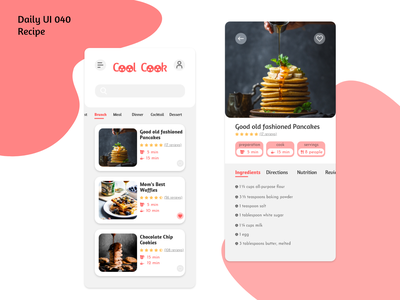 Daily UI #040 - Recipe graphic design ingredients kitchen brunch cook illustration design mobile interface ux ui challenge pancakes cookies waffle adobe xd recipe daily ui