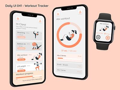 Daily UI #041 - Workout Tracker interface design apple watch iphone mobile illustration ui ux orange abs exercise sport workout 041 workout tracker challenge daily ui adobe xd