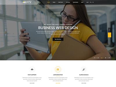 Banner Concept For Hefty Multipurpose WordPress Themes icon box icon header web template wordpress ux ui hero area slider banner