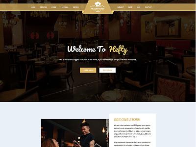 Restaurant Homepage Concept For Hefty Multipurpose Themes landing page creative icon box icon header minimal sign web template wordpress ui ux hero area slider banner