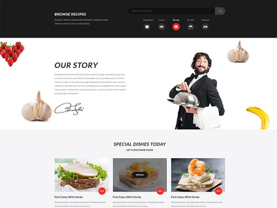 Food & recipe Homepage Concept For Hefty Multipurpose Themes recipe food banner slider ui ux wordpress web template minimal sign header icon creative landing page