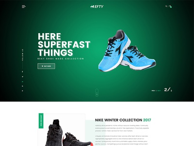 Online Shoe Store Homepage Concept For Hefty Multipurpose Themes banner slider hero area ui ux wordpress web template header icon ecommerce creative