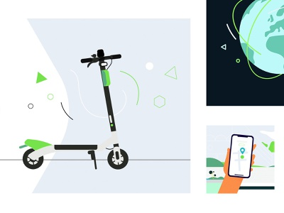 Lime - Illustrations for Electric Scooters Experience Reimagined vector motion future animation explainer design lime escooter character abstract still frames storyboarding storyboard illustraion