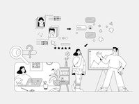 Find specialist sketch remote remote work girl vector character abstract design future outline illustration