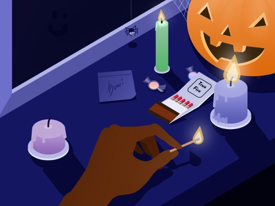 Trick or treat? spooky night candles candy pumpkin isometric illustration isometric illustration halloween