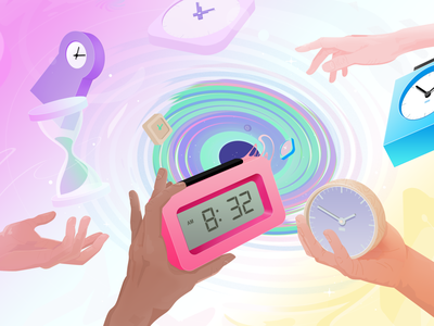 Time portal time management clock time future abstract illustration