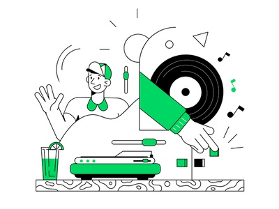 Guidelines vinyl record player music future illustration abstract outline character