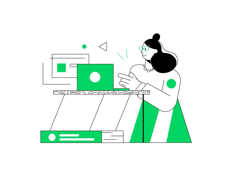 Dribbble Guidelines work space work future girl illustration outline abstract character