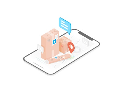 ParcelLab case study messages packages app phone isometric design isometric design illustration abstract