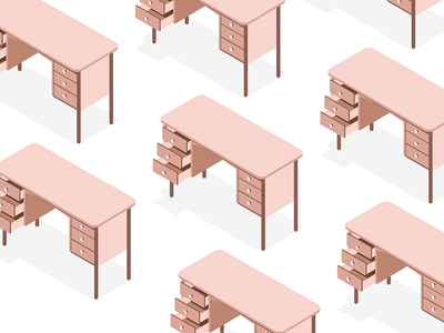 Desks pattern desk vector study pattern isometric illustration isometric furniture app furniture design
