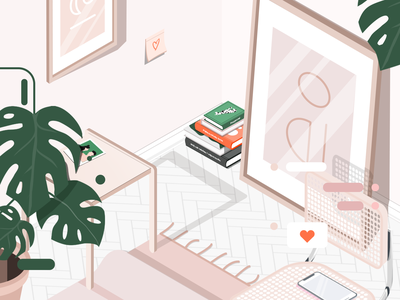 Zoom plants books illustration furniture room isometric illustration isometry