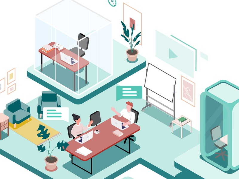 5th Floor illustrations furniture product illustration coworking space isometric isometric illustration coworking future illustration