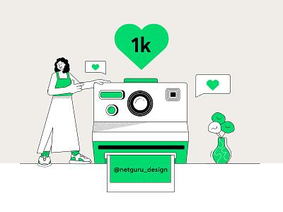 Instagram - 1 k followers future girl instagram post camera instagram design vector outline abstract illustration character